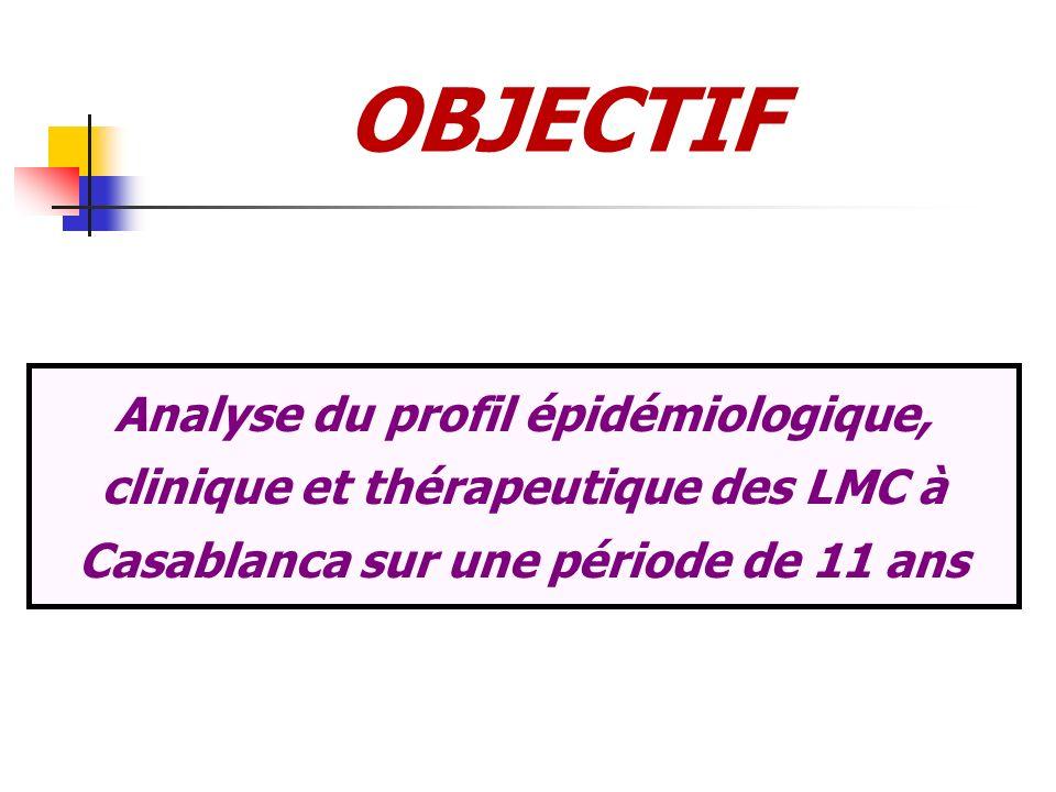 OBJECTIF Analyse du profil épidémiologique, clinique et thérapeutique des LMC à Casablanca sur une période de 11 ans