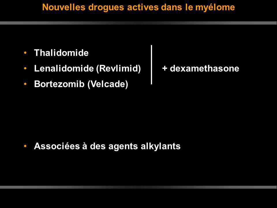 Nouvelles drogues actives dans le myélome Thalidomide Lenalidomide (Revlimid)+ dexamethasone Bortezomib (Velcade) Associées à des agents alkylants