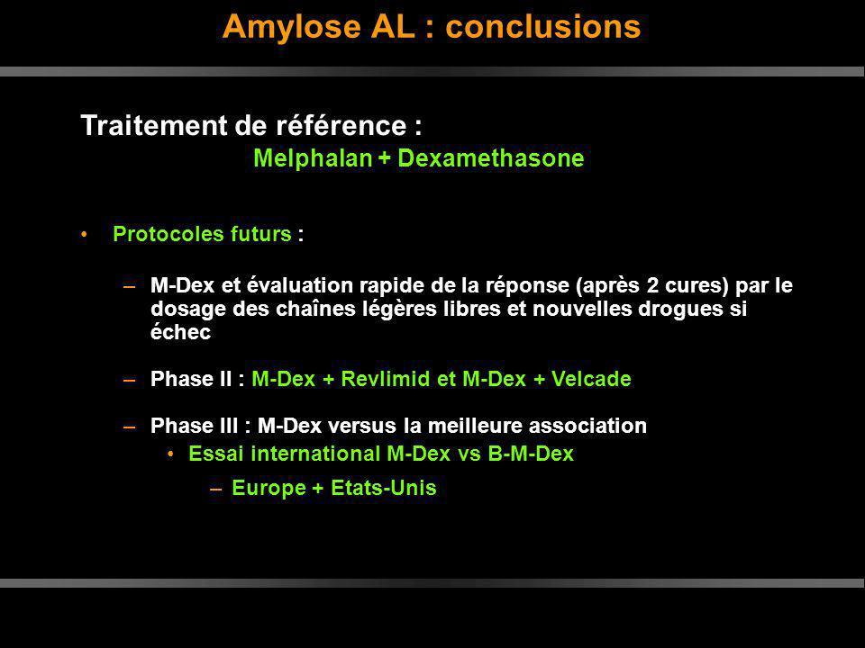 Traitement de référence : Melphalan + Dexamethasone Protocoles futurs : –M-Dex et évaluation rapide de la réponse (après 2 cures) par le dosage des ch