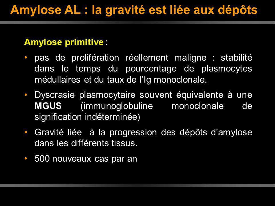 Amylose AL : la gravité est liée aux dépôts Amylose primitive : pas de prolifération réellement maligne : stabilité dans le temps du pourcentage de pl