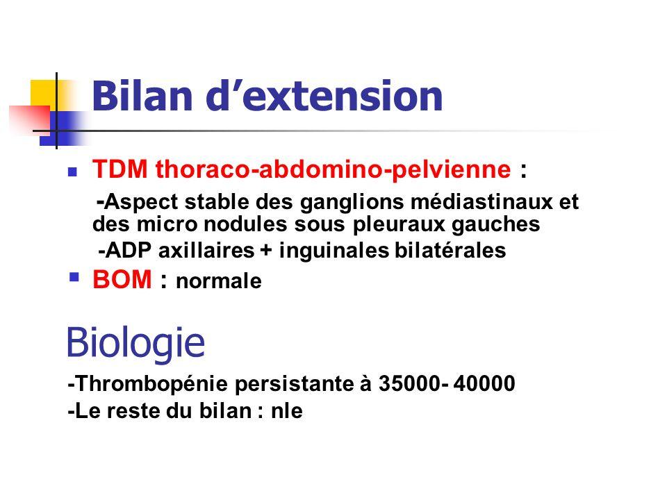Bilan dextension TDM thoraco-abdomino-pelvienne : - Aspect stable des ganglions médiastinaux et des micro nodules sous pleuraux gauches -ADP axillaire
