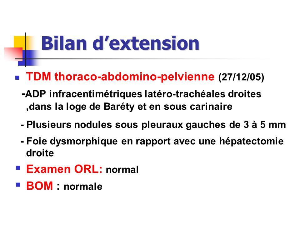 Bilan dextension TDM thoraco-abdomino-pelvienne (27/12/05) - ADP infracentimétriques latéro-trachéales droites,dans la loge de Baréty et en sous carin