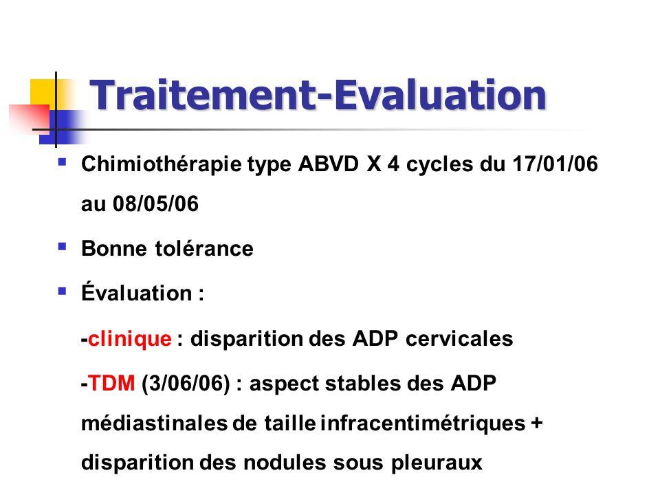 Traitement-Evaluation Chimiothérapie type ABVD X 4 cycles du 17/01/06 au 08/05/06 Bonne tolérance Évaluation : -clinique : disparition des ADP cervica