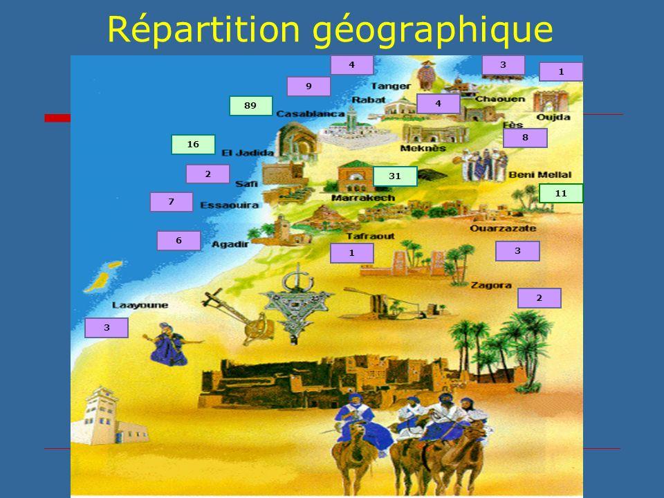 Répartition géographique 16 7 6 3 2 1 31 3 11 1 8 34 4 2 9 89