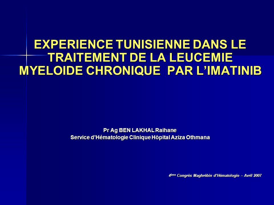 EXPERIENCE TUNISIENNE DANS LE TRAITEMENT DE LA LEUCEMIE MYELOIDE CHRONIQUE PAR LIMATINIB Pr Ag BEN LAKHAL Raihane Service dHématologie Clinique Hôpita