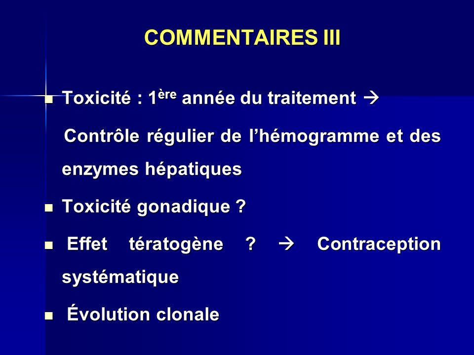 COMMENTAIRES III Toxicité : 1 ère année du traitement Toxicité : 1 ère année du traitement Contrôle régulier de lhémogramme et des enzymes hépatiques