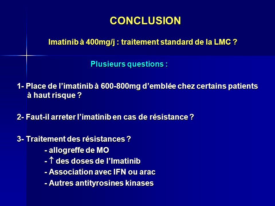 CONCLUSION Imatinib à 400mg/j : traitement standard de la LMC ? Imatinib à 400mg/j : traitement standard de la LMC ? Plusieurs questions : Plusieurs q