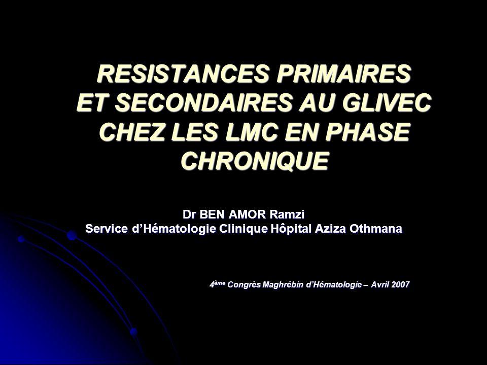 RESISTANCES PRIMAIRES ET SECONDAIRES AU GLIVEC CHEZ LES LMC EN PHASE CHRONIQUE Dr BEN AMOR Ramzi Service dHématologie Clinique Hôpital Aziza Othmana 4