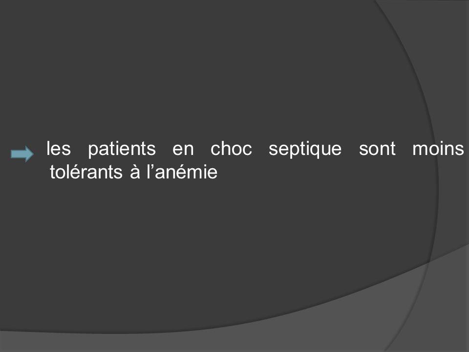 les patients en choc septique sont moins tolérants à lanémie