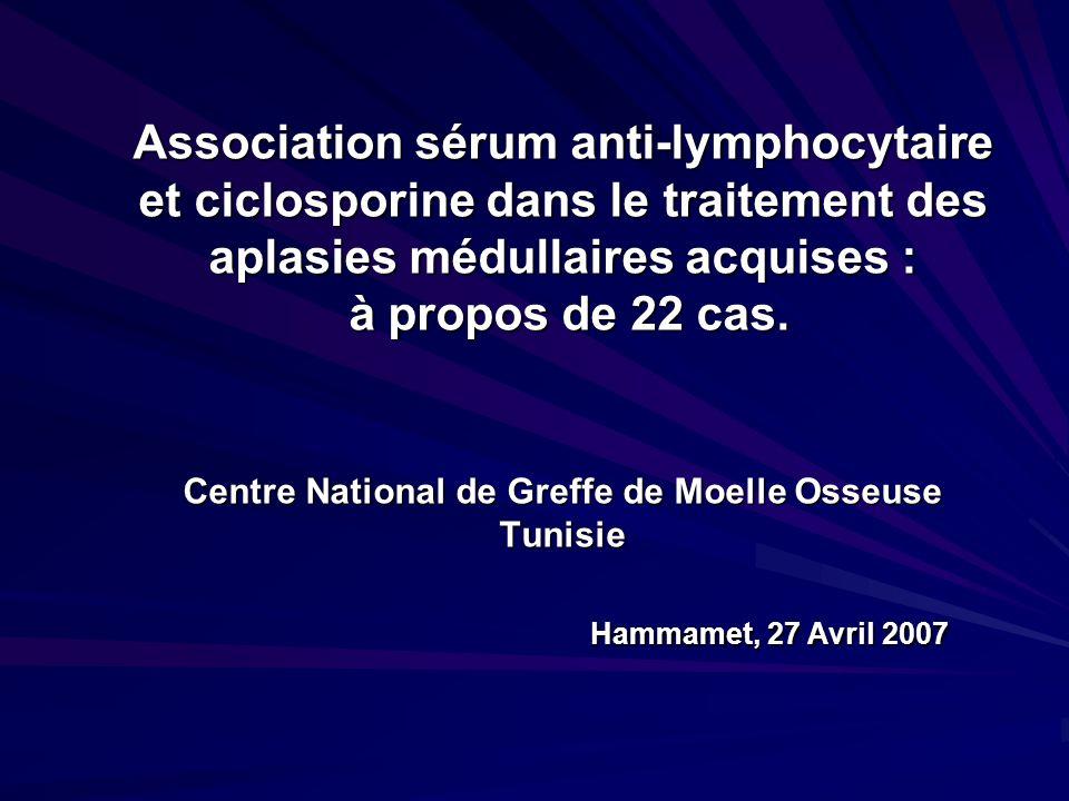 Association sérum anti-lymphocytaire et ciclosporine dans le traitement des aplasies médullaires acquises : à propos de 22 cas. Centre National de Gre