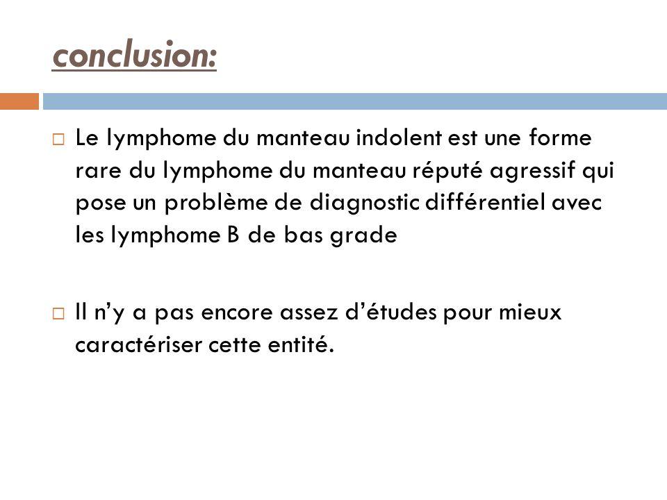 conclusion: Le lymphome du manteau indolent est une forme rare du lymphome du manteau réputé agressif qui pose un problème de diagnostic différentiel