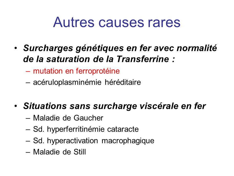 Autres causes rares Surcharges génétiques en fer avec normalité de la saturation de la Transferrine : –mutation en ferroprotéine –acéruloplasminémie héréditaire Situations sans surcharge viscérale en fer –Maladie de Gaucher –Sd.