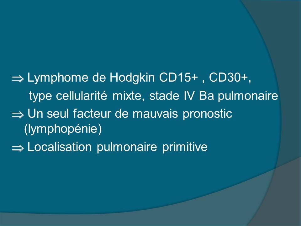 TRAITEMENT - EVOLUTION Traitement selon le groupe 5 du protocole MDH 2002: 8 cures ABVD Evolution après 4 cures: disparition des signes généraux et de lopacité radiologique