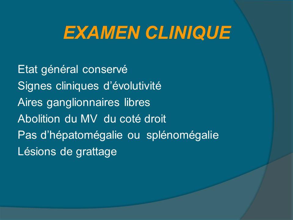 Radio thorax: Opacité alvéolaire de la moitié du parenchyme pulmonaire droit Epanchement pleural droit BILAN DEXTENTION BOM: normale