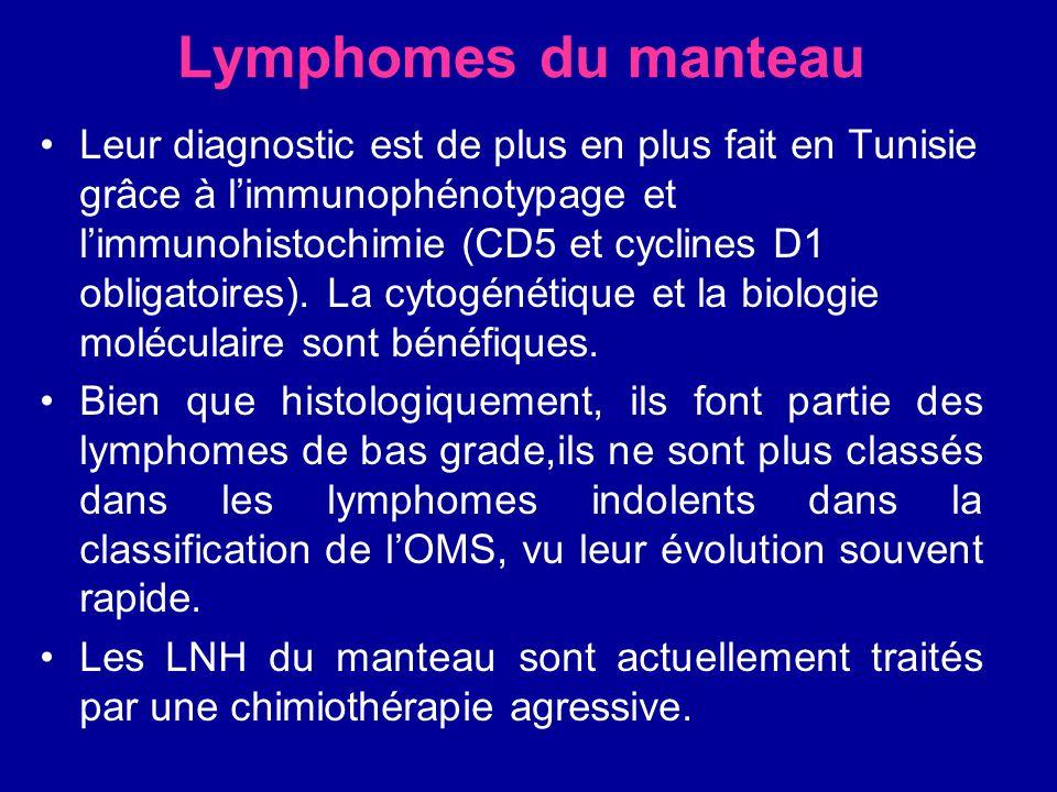 Lymphomes du manteau Leur diagnostic est de plus en plus fait en Tunisie grâce à limmunophénotypage et limmunohistochimie (CD5 et cyclines D1 obligato