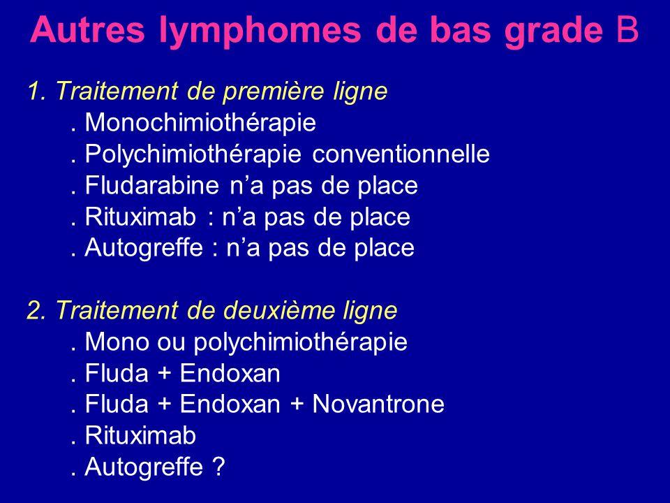 Autres lymphomes de bas grade B 1. Traitement de première ligne. Monochimiothérapie. Polychimiothérapie conventionnelle. Fludarabine na pas de place.