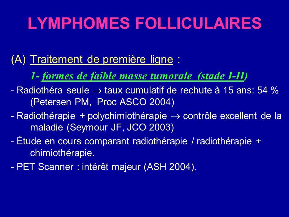 LYMPHOMES FOLLICULAIRES 2/ formes de forte masse tumorale : -CHOP-B est supérieure à lendoxan en terme de SG et SSP (CALGB Peterson BA, JCO 2003) -Fluda = polychimiothérapie, mais :.