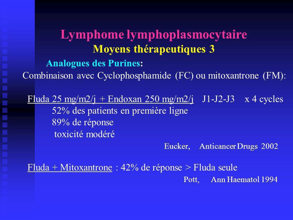 Lymphome lymphoplasmocytaire Moyens thérapeutiques 3 Analogues des Purines: Combinaison avec Cyclophosphamide (FC) ou mitoxantrone (FM): Fluda 25 mg/m