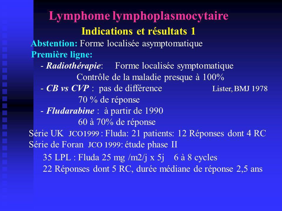 Lymphome lymphoplasmocytaire Indications et résultats 1 Abstention: Forme localisée asymptomatique Première ligne: - Radiothérapie: Forme localisée sy