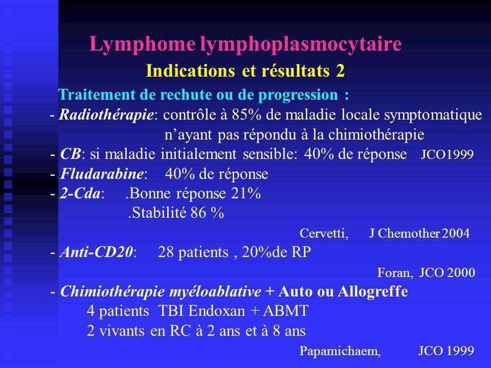 Lymphome lymphoplasmocytaire Indications et résultats 2 Traitement de rechute ou de progression : - Radiothérapie: contrôle à 85% de maladie locale sy