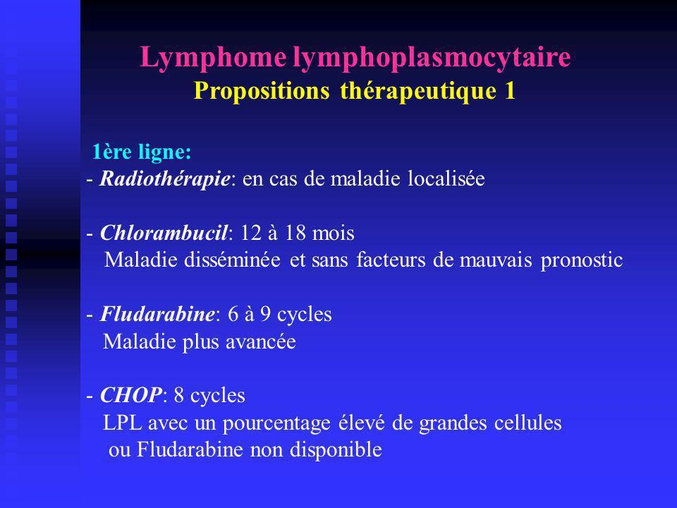 Lymphome lymphoplasmocytaire Propositions thérapeutique 1 1ère ligne: - Radiothérapie: en cas de maladie localisée - Chlorambucil: 12 à 18 mois Maladi