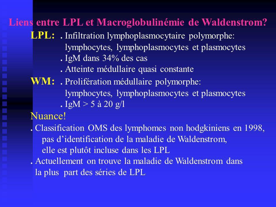 Lymphome lymphoplasmocytaire-Survie - Survie médiane: 6,5 ans pour tous les patients 3,5 ans après la 1ère rechute 10 mois après la 2ème rechute 7 mois après la 3ème rechute Papamichael, JCO 1999