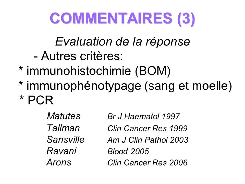 COMMENTAIRES (3) Evaluation de la réponse - Autres critères: * immunohistochimie (BOM) * immunophénotypage (sang et moelle) * PCR Matutes Br J Haemato