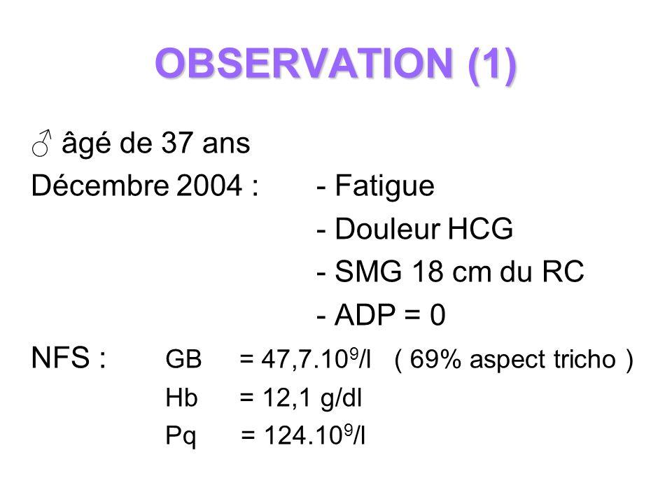 OBSERVATION (1) âgé de 37 ans Décembre 2004 : - Fatigue - Douleur HCG - SMG 18 cm du RC - ADP = 0 NFS : GB = 47,7.10 9 /l ( 69% aspect tricho ) Hb = 1