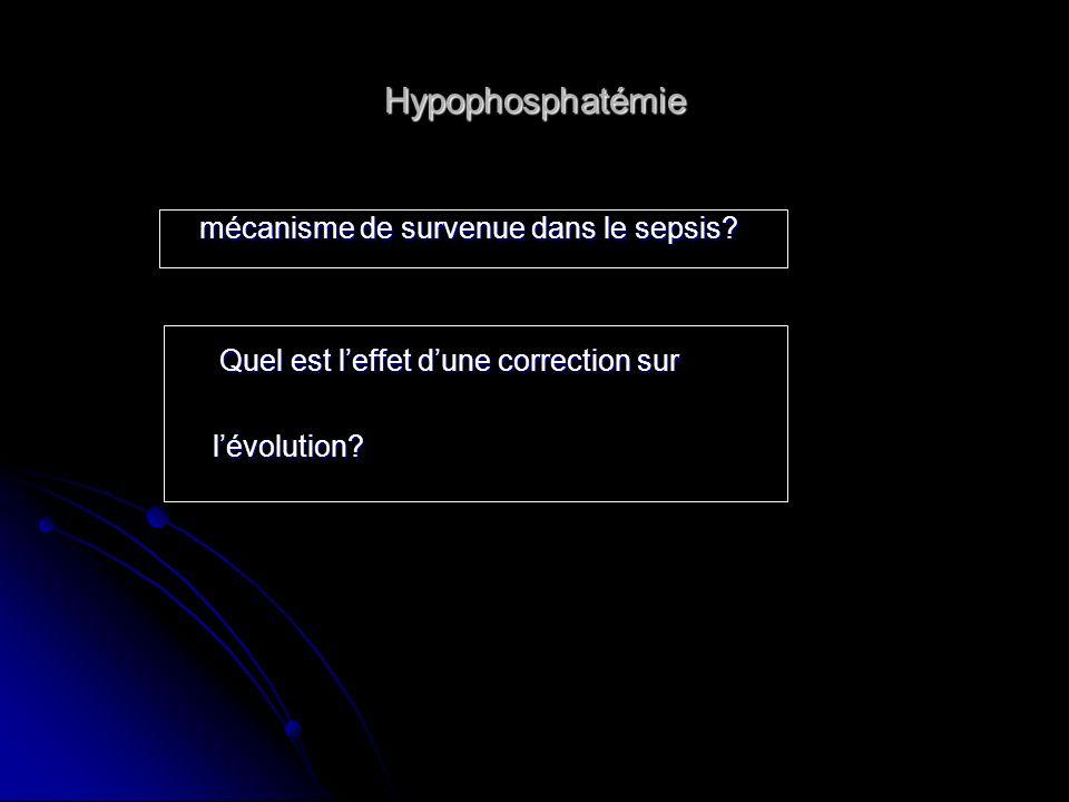 Hypophosphatémie mécanisme de survenue dans le sepsis? mécanisme de survenue dans le sepsis? Quel est leffet dune correction sur Quel est leffet dune
