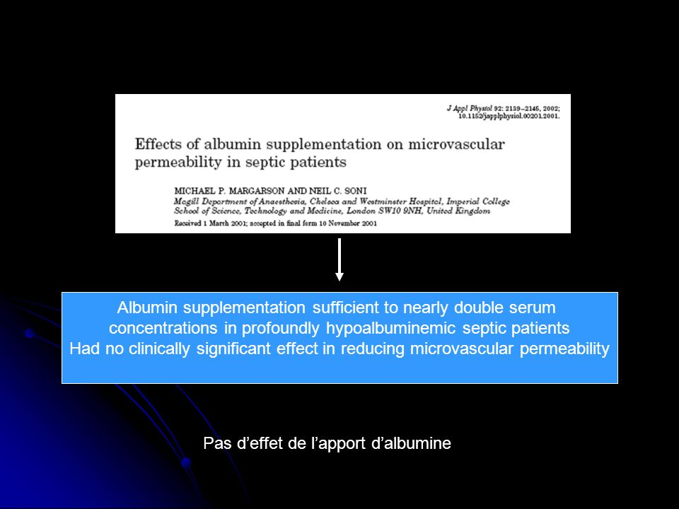 Albumin supplementation sufficient to nearly double serum concentrations in profoundly hypoalbuminemic septic patients Had no clinically significant effect in reducing microvascular permeability Pas deffet de lapport dalbumine