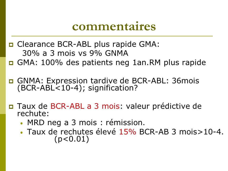 commentaires Clearance BCR-ABL plus rapide GMA: 30% a 3 mois vs 9% GNMA GMA: 100% des patients neg 1an.RM plus rapide GNMA: Expression tardive de BCR-ABL: 36mois (BCR-ABL<10-4); signification.