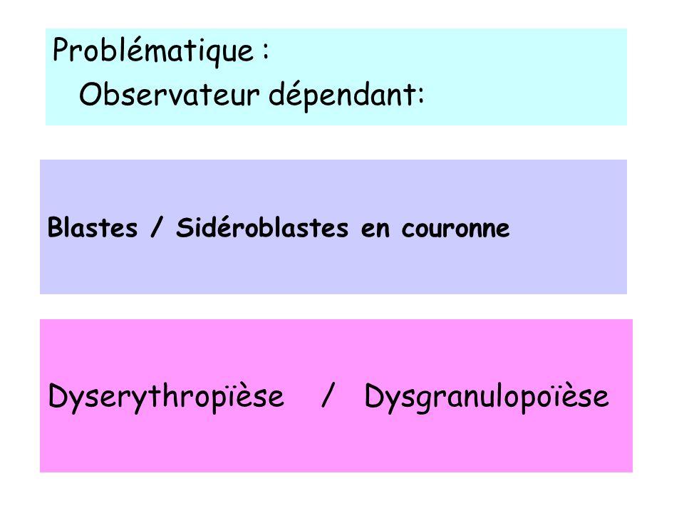 RESULTATS Concordance entre 2 examinateurs dans 91% (21/23) Les signes de dysgranulopoïèse sont fréquents –Score total SMD 10.21 (2-21) –DysG 5 (1-15) –DysE 2.6 (0-6) –DysM 2.4 (0-8)