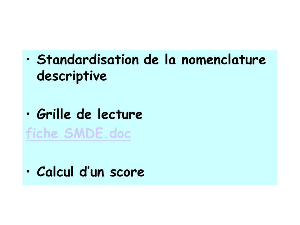CALCUL DU SCORE Score total DSM Dysmégacaryopoïèse Dyserythropoïèse Dysgranulopoïèse Lignées impliquées (score>1)/3 lignées