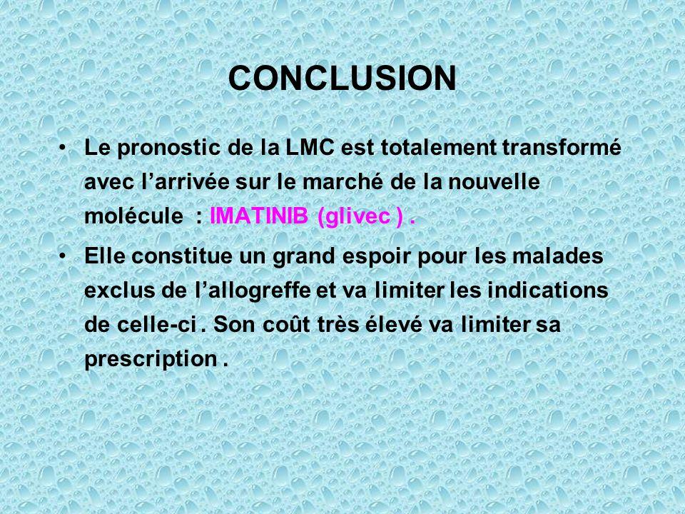 CONCLUSION Le pronostic de la LMC est totalement transformé avec larrivée sur le marché de la nouvelle molécule : IMATINIB (glivec ). Elle constitue u