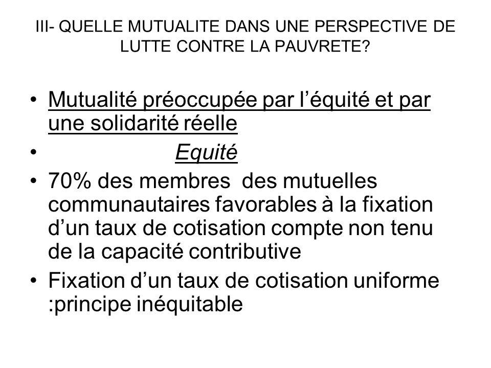 III- QUELLE MUTUALITE DANS UNE PERSPECTIVE DE LUTTE CONTRE LA PAUVRETE? Mutualité préoccupée par léquité et par une solidarité réelle Equité 70% des m