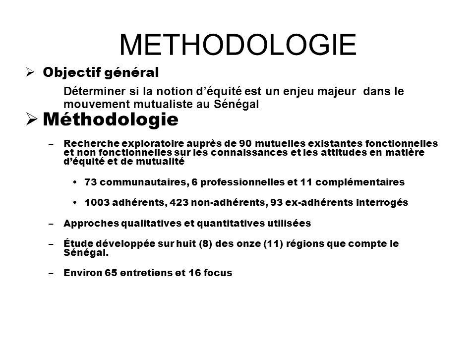 METHODOLOGIE Objectif général Déterminer si la notion déquité est un enjeu majeur dans le mouvement mutualiste au Sénégal Méthodologie –Recherche expl