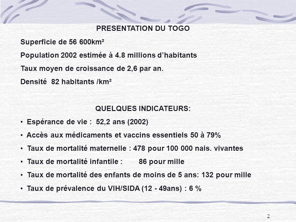 2 PRESENTATION DU TOGO Superficie de 56 600km² Population 2002 estimée à 4.8 millions dhabitants Taux moyen de croissance de 2,6 par an. Densité 82 ha