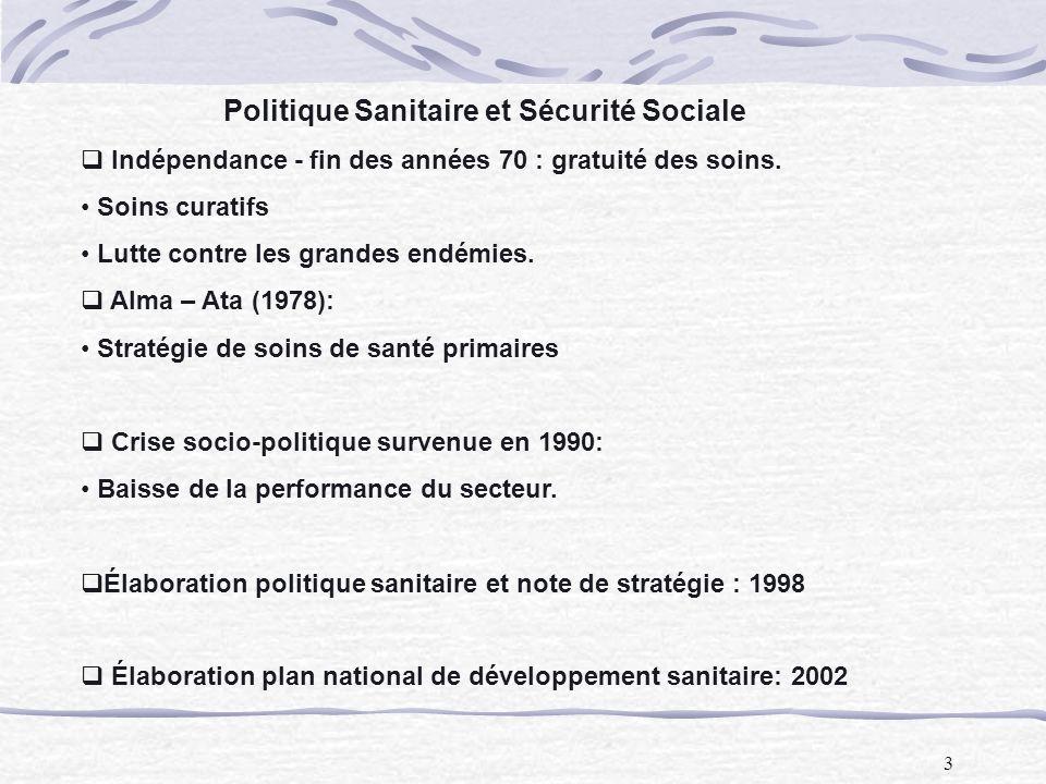 3 Politique Sanitaire et Sécurité Sociale Indépendance - fin des années 70 : gratuité des soins. Soins curatifs Lutte contre les grandes endémies. Alm