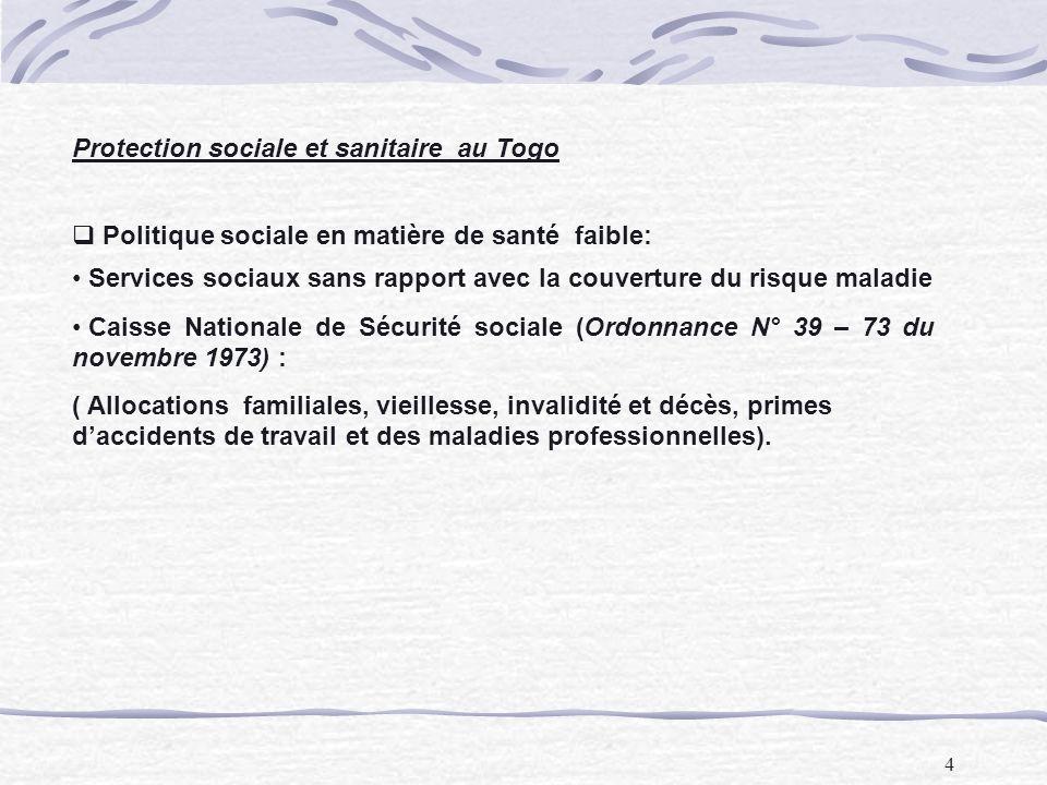 4 Protection sociale et sanitaire au Togo Politique sociale en matière de santé faible: Services sociaux sans rapport avec la couverture du risque mal