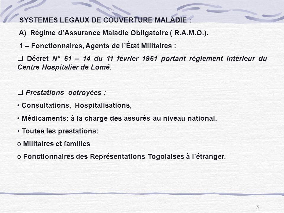 5 SYSTEMES LEGAUX DE COUVERTURE MALADIE : A) Régime dAssurance Maladie Obligatoire ( R.A.M.O.). 1 – Fonctionnaires, Agents de lÉtat Militaires : Décre
