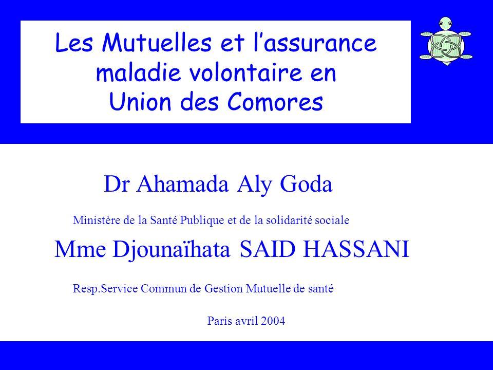 Les Mutuelles et lassurance maladie volontaire en Union des Comores Dr Ahamada Aly Goda Ministère de la Santé Publique et de la solidarité sociale Mme