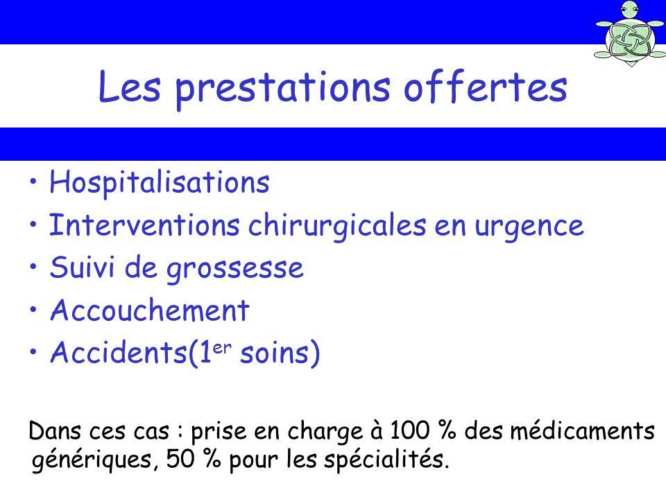 Les prestations offertes Hospitalisations Interventions chirurgicales en urgence Suivi de grossesse Accouchement Accidents(1 er soins) Dans ces cas :
