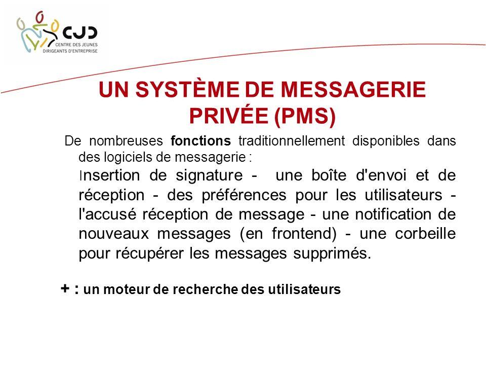 UN SYSTÈME DE MESSAGERIE PRIVÉE (PMS) De nombreuses fonctions traditionnellement disponibles dans des logiciels de messagerie : I nsertion de signature - une boîte d envoi et de réception - des préférences pour les utilisateurs - l accusé réception de message - une notification de nouveaux messages (en frontend) - une corbeille pour récupérer les messages supprimés.