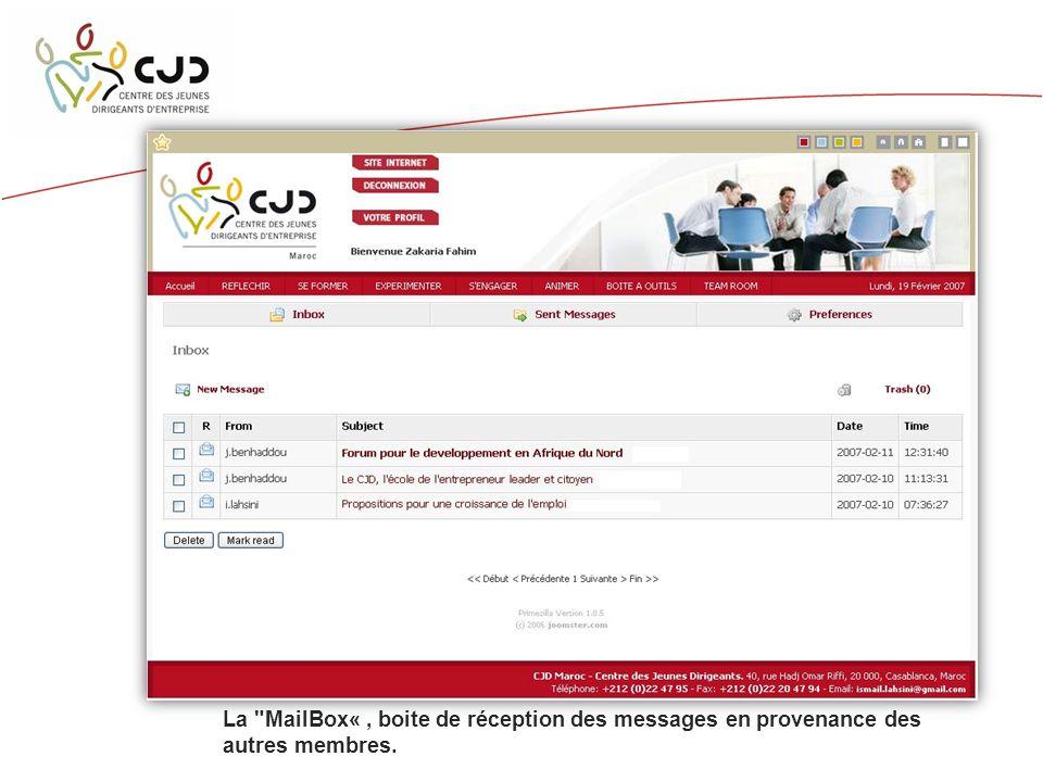 La MailBox«, boite de réception des messages en provenance des autres membres.