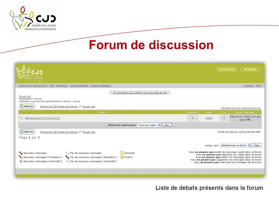 Forum de discussion Liste de debats présents dans le forum