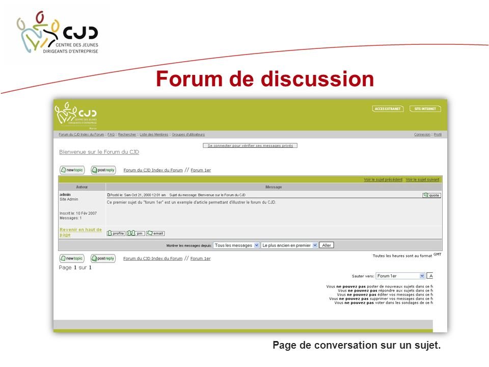Forum de discussion Page de conversation sur un sujet.