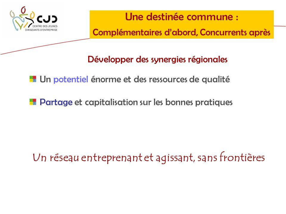 Une destinée commune : Complémentaires dabord, Concurrents après Développer des synergies régionales Un potentiel énorme et des ressources de qualité Partage et capitalisation sur les bonnes pratiques Un réseau entreprenant et agissant, sans frontières