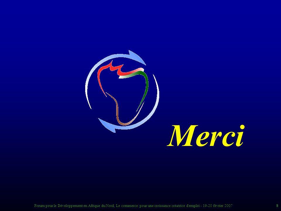 8Forum pour le Développement en Afrique du Nord, Le commerce: pour une croissance créatrice d emploi - 19-20 février 2007 Merci