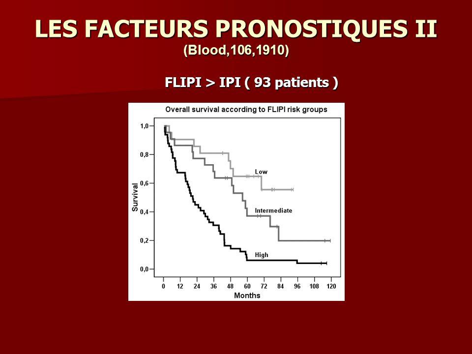 LES FACTEURS PRONOSTIQUES II (Blood,106,1910) FLIPI > IPI ( 93 patients )