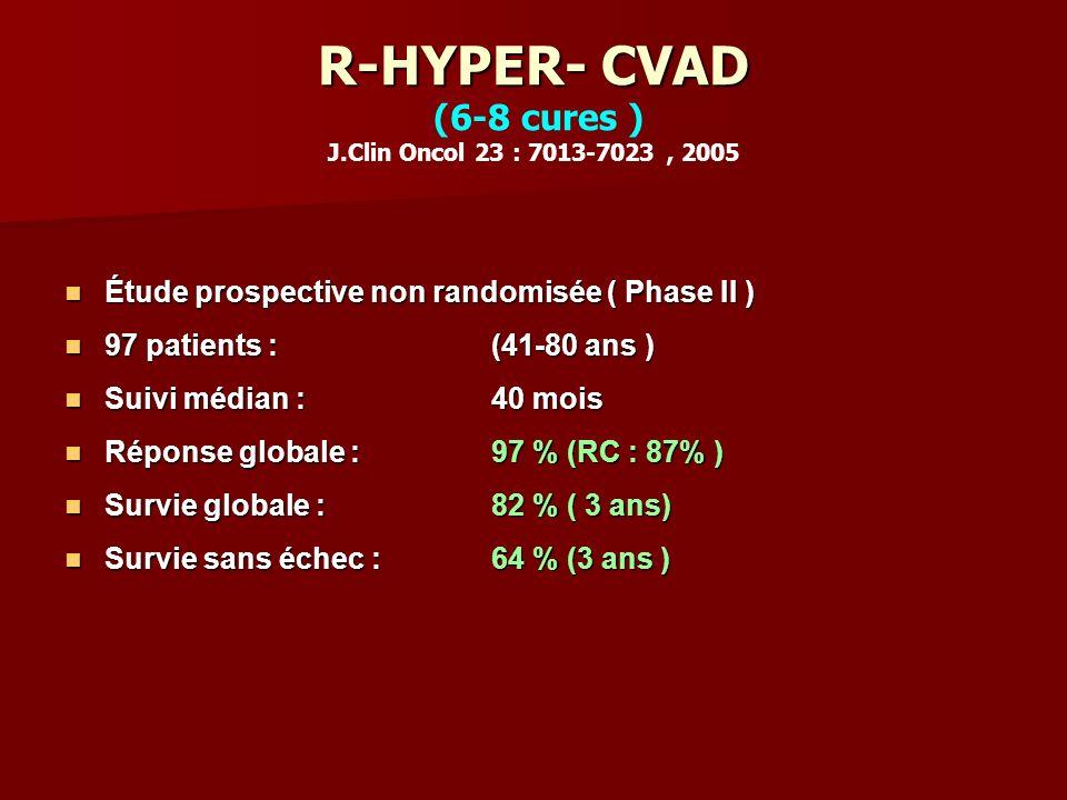 R-HYPER- CVAD R-HYPER- CVAD (6-8 cures ) J.Clin Oncol 23 : 7013-7023, 2005 Étude prospective non randomisée ( Phase II ) Étude prospective non randomisée ( Phase II ) 97 patients : (41-80 ans ) 97 patients : (41-80 ans ) Suivi médian : 40 mois Suivi médian : 40 mois Réponse globale : 97 % (RC : 87% ) Réponse globale : 97 % (RC : 87% ) Survie globale : 82 % ( 3 ans) Survie globale : 82 % ( 3 ans) Survie sans échec : 64 % (3 ans ) Survie sans échec : 64 % (3 ans )